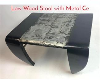 Lot 1282 Modernist Paul Evans Style Low Wood Stool with Metal Ce