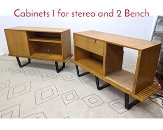 Lot 1283 4pc GEORGE NELSON 2 Cabinets 1 for stereo and 2 Bench