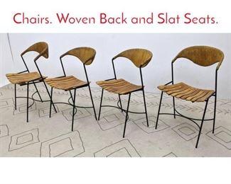 Lot 1287 Set 4 ARTHUR UMANOFF Chairs. Woven Back and Slat Seats.