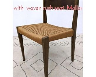 Lot 1289 Danish Modern Side chair with woven rush seat. Moller