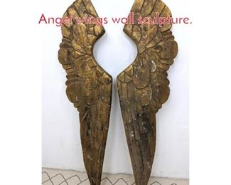 Lot 1291 Pair of Gilt Carved Wood Angel wings wall sculpture.