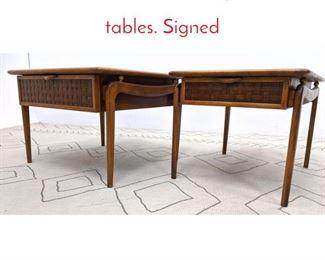 Lot 1292 Pr LANE Perception End tables. Signed