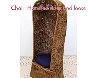 Lot 1293 Tall Rattan Valet Hooded Chair. Handled sides and loose
