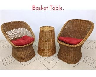 Lot 1297 3pcs Rattan. 2 Chairs and Basket Table.