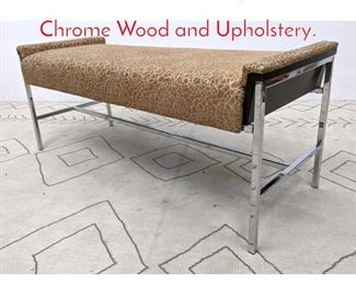 Lot 1305 Decorator Designer Bench. Chrome Wood and Upholstery.