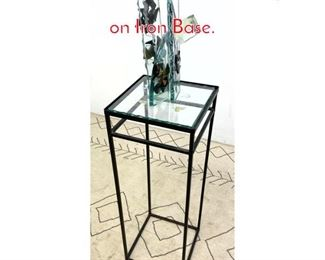 Lot 1313 Artisan Fused Glass Sculpture on Iron Base.