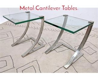 Lot 1315 Pair Contemporary Glass and Metal Cantilever Tables.