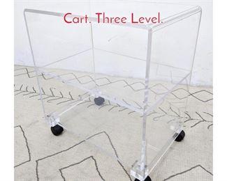 Lot 1320 Lucite Acrylic Rolling Shelf Cart. Three Level.