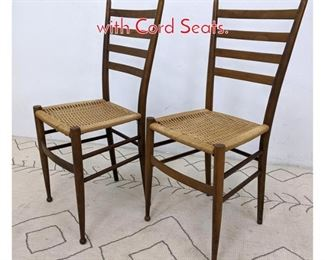 Lot 1324 Pair Italian Style Side Chairs with Cord Seats.