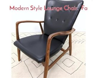 Lot 1328 Contemporary Mid Century Modern Style Lounge Chair. Fa
