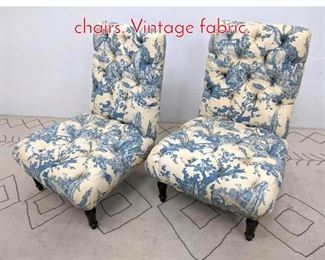 Lot 1331 Pair of Tufted low slipper chairs. Vintage fabric.