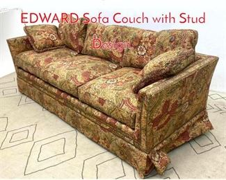 Lot 1332 Designer FREDERICK EDWARD Sofa Couch with Stud Design.