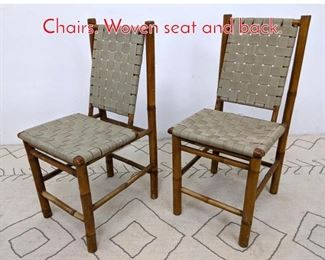 Lot 1333 Pair Rustic Bamboo Side Chairs. Woven seat and back.