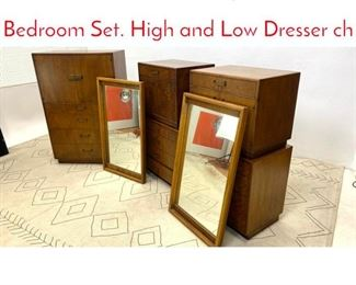 Lot 1340 Mid Century Modern Bedroom Set. High and Low Dresser ch