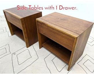 Lot 1341 Pair LANE American Modern Side Tables with 1 Drawer.