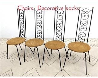 Lot 1344 Set 4 Tall Back Iron Cafe Chairs. Decorative backs.
