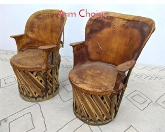 Lot 1345 Pair Mexican Style Leather Arm Chairs.