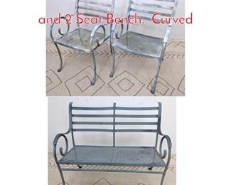 Lot 1349 3pc Iron Patio Set. 2 Cahirs and 2 Seat Bench. Curved