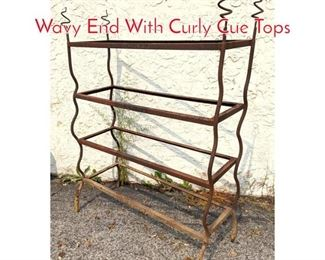 Lot 1350 Modernist Iron Shelf Frame Wavy End With Curly Cue Tops