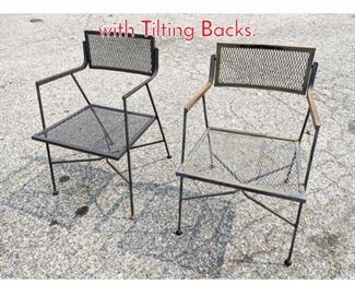 Lot 1351 Pair Salterini Style Arm Chairs with Tilting Backs.