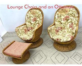 Lot 1352 3pcs Rattan Wicker Set. 2 Lounge Chairs and an Ottoman.
