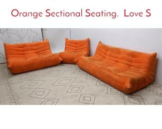 Lot 1358 3pc LIGNE ROSET Style Orange Sectional Seating. Love S