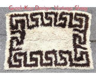 Lot 1363 Vintage Shag Carpet with Greek Key Design. Vintage Shag