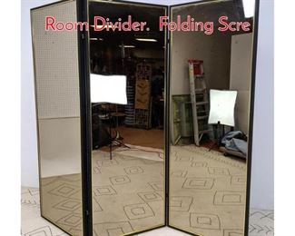 Lot 1373 Large 3 Section Mirror Wall Room Divider. Folding Scre