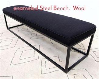 Lot 1374 Florence Knoll Style Black enameled Steel Bench. Wool