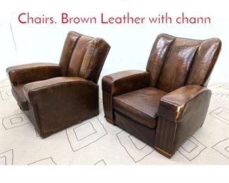 Lot 1378 Pr Vintage French Club Chairs. Brown Leather with chann
