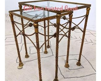 Lot 1379 Set 2 Nesting Tables. Italian Gilt Iron twisted floral