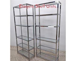 Lot 1383 Pair Tall Chrome and Glass Etagere Shelf Units.