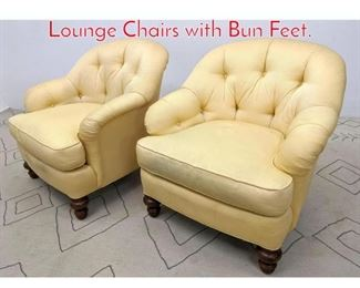 Lot 1386 Pair SHERRILL Tufted Back Lounge Chairs with Bun Feet.