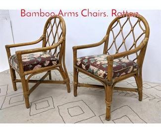 Lot 1388 SHELBY WILLIAMS Bamboo Arms Chairs. Rattan.