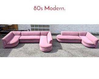 Lot 1389 5pcs Mauve Sectional Sofa 80s Modern.