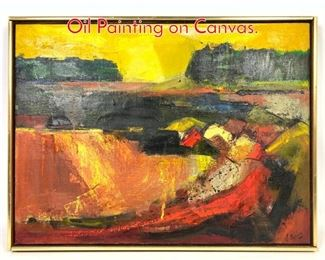 Lot 1403 LINA BURLEY Little River Oil Painting on Canvas.