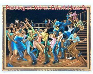 Lot 1408 ERNIE BARNES Style Painting on Velvet. Colorful Jazz Sc