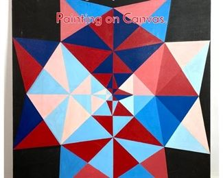 Lot 1412 Vintage Op Art Geometric Oil Painting on Canvas.