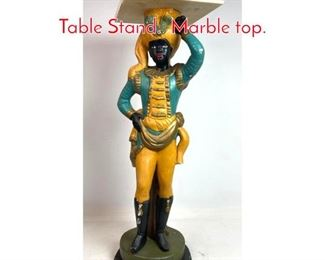 Lot 1414 Blackamoor Figural Side Table Stand. Marble top.