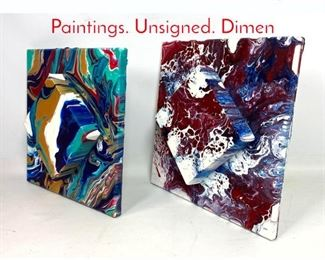 Lot 1415 Small 3 Dimensional Drip Oil Paintings. Unsigned. Dimen
