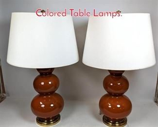 Lot 1417 Pr ROBERT ABBEY Rust Colored Table Lamps.