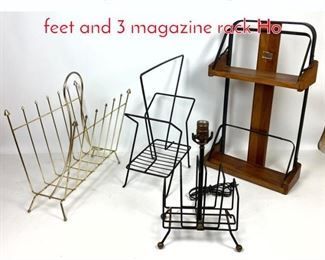 Lot 1422 4pc wire lot Lamp with ball feet and 3 magazine rack Ho