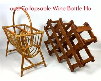 Lot 1425 2pc Bamboo Magazine Rack and Collapsable Wine Bottle Ho