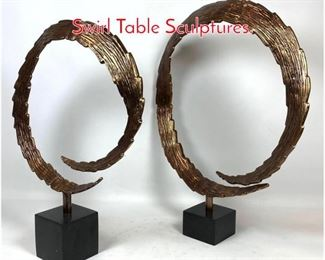 Lot 1428 Pair Contemporary Metal Swirl Table Sculptures.