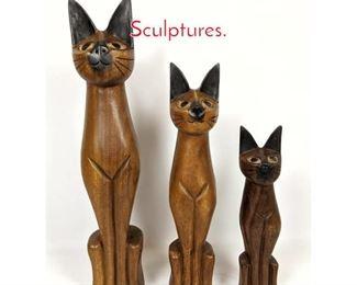 Lot 1436 set3 Carved Wood Cat Sculptures.