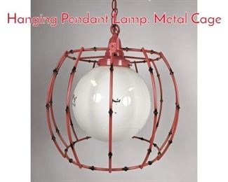 Lot 1440 Mid Century Modern Hanging Pendant Lamp. Metal Cage gl
