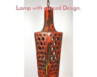 Lot 1439 Orange Pottery Pendant Lamp with pierced Design.