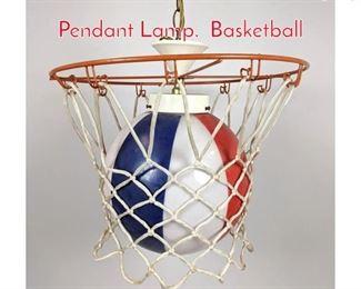 Lot 1441 Whimsical Basketball hanging Pendant Lamp. Basketball