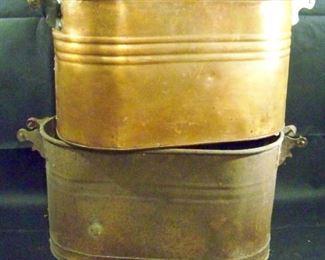 Two Vintage Copper Boiler Wash Tubs