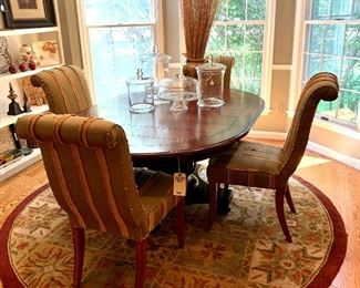 "$550-Beautiful round table with one leaf and pedestal base. Table measures 48""d x 30""h. Leaf is 20"" x 48"". More images of this available - keep scrolling through!"